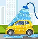 Waschen Sie Auto, gelbes Auto, Farbillustration Lizenzfreie Stockfotos