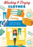 Waschen und trocknende Kleidungshaushaltsspitzen vektor abbildung