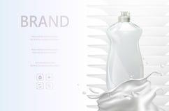 Waschende flüssige Vektoranzeigen, Flaschenwäsche Lizenzfreies Stockfoto
