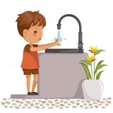 Waschende Hände des Jungen vektor abbildung