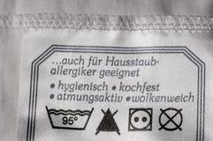 Waschende Kennsatzmarke Stockbilder