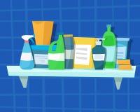 Waschende Reinigungsmittel und Flaschen Stockfoto