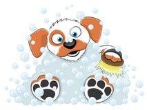 Waschender Hund der Karikatur. Stockbild