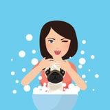 Waschender Hund jungen Berufshaustier Groomer, der mit Seife badet Stockbilder