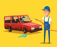 Waschender Service des Autos Der kleine Junge unzufrieden gemacht Lizenzfreies Stockbild