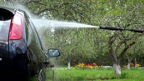 Waschendes Automobilauto mit starkem Wasserstrahl im Garten stock video footage