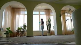 Waschendes Fenster der Frau mit Reinigungsmittel stock video footage