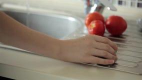 Waschendes Gemüse in der Wanne stock video footage