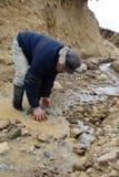 Waschendes Gold des Bergmannes in Tierra del Fuego Lizenzfreies Stockfoto