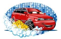 Waschendes Zeichen des Autos mit Schwamm Stockfoto
