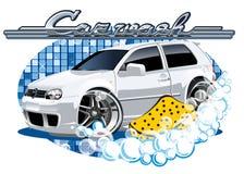 Waschendes Zeichen des Autos mit Schwamm Stockbilder