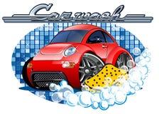 Waschendes Zeichen des Autos mit Schwamm lizenzfreie abbildung