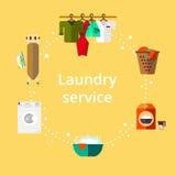 Waschküche in der flachen Art Säubern Sie Gegenstände Lizenzfreies Stockfoto