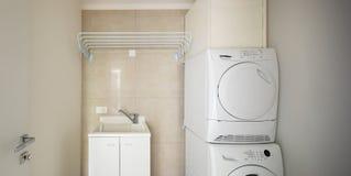 Waschküche mit moderner Waschmaschine und Trockner stockfoto