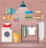 Waschküche mit Waschmaschine Stockfoto
