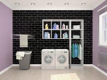 Waschk?cheentwurf mit Waschmaschine lizenzfreie abbildung