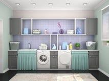 Waschk?cheentwurf mit Waschmaschine stock abbildung