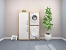 Waschk?cheentwurf mit Waschmaschine vektor abbildung