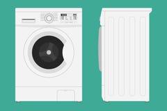 Waschmaschine mit offener und geschlossener Türikone Vektorillustration in der flachen Art lizenzfreie abbildung