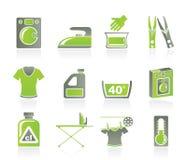 Waschmaschine- und Wäschereiikonen Stockfotos