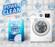Waschmaschinenanzeige Fleckenentferner-Fahnenentwurf mit realistischer Waschmaschine und Waschmittelpaket mit sauberem vektor abbildung