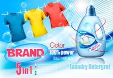 Waschmittelanzeige Plastikflasche und bunte Hemden auf Überrollschutzvorrichtung lizenzfreie abbildung