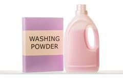 Waschpulver und flüssiges Reinigungsmittel Lizenzfreie Stockfotografie