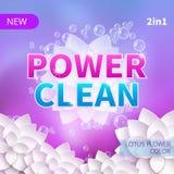 Waschpulver und Reinigungsmittel vector VerpackungsKonzeption des Produkts Säubern Sie Konzept mit Schaumblasen lizenzfreie abbildung