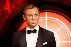 Wascijfer van Daniel Craig als James Bond 007 agent in Mevrouw Tussauds Wax-museum in Amsterdam, Nederland Stock Foto's