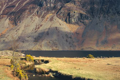 Wasdale screes, Cumbria. Lake Wasdale screes, scree is the rubble and loose boulders created by erosion, over thousands of years. Wasdale is the deepest lake in Stock Images