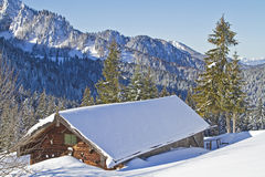 Wasensteiner hut in winter Royalty Free Stock Images