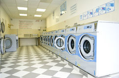 Wash. Plenty of washing machines in a laundry Stock Image