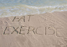 Wash away the fat with exercise Stock Photo