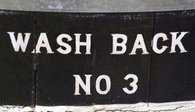 Wash back sign at distillery Royalty Free Stock Photos