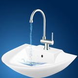 Wash basin. Illustration of wash basin with blue background Stock Photos