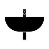 Wash basin black color icon . Stock Photos