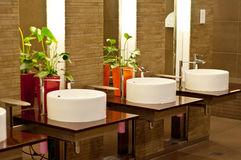 Wash Basins in Restroom Royalty Free Stock Image