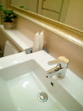 Wash bathroom. White wash pool in a bath room in a new home Stock Images