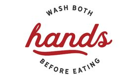 Wash both hands before eating. Quote illustrator stock illustration