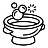 Wash bowl icon, outline style vector illustration