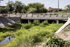 Wash with a Bridge and Reeds in the City of Tucson Arizona Stock Images