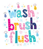 Wash brush flush decorative lettering type design Royalty Free Stock Photos