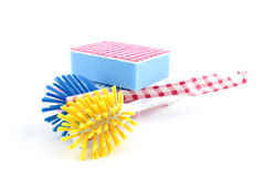 Wash brush and scouring pads Royalty Free Stock Photo