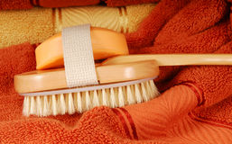 Wash brush and soap with towels Royalty Free Stock Photos
