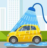 Wash car, yellow car, color illustration. Royalty Free Stock Photos