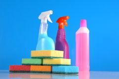 Wash and cleaning on blue background Royalty Free Stock Photo