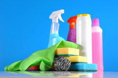 Wash and cleaning on blue background Royalty Free Stock Photography