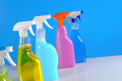 Wash and cleaning on blue background Royalty Free Stock Photos
