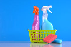 Wash and cleaning on blue background Royalty Free Stock Images