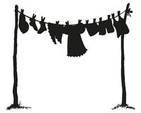 Wash clothing on clothesline. Vector drawing Stock Photography
